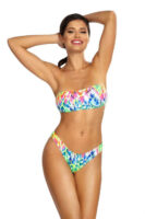 Nowoczesne bikini w kolorowe wzory i krój bandeau