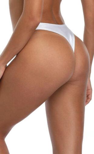 Biały damski kostium kąpielowy typu stringi