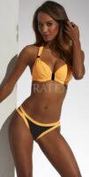Wibrujący, żółto-czarny dwuczęściowy kostium kąpielowy Tropicana