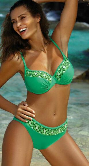 Zielony damski dwuczęściowy kostium kąpielowy glamour