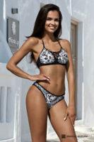 Dwuczęściowe czarno-białe bikini push-up o wyrafinowanym kroju