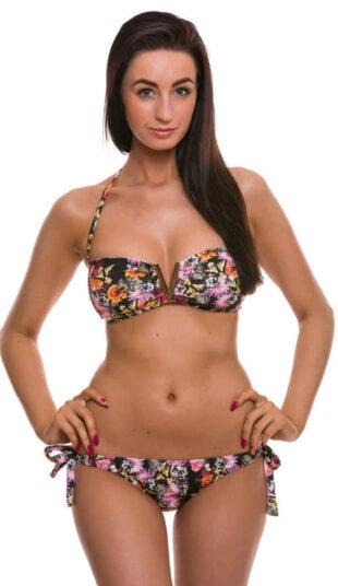 Romantyczny damski kostium kąpielowy z kwiatowym nadrukiem i lekkim efektem push-up