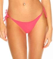 Stringi bikini w kolorze arbuzowego różu wykonane z wysokiej jakości flokowanego materiału