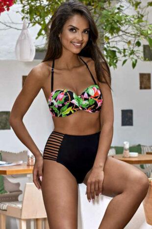 Czarne i zielone bikini w nowoczesny kwiatowy wzór i wycięcia.