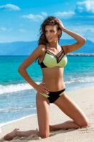 Damskie bikini w luksusowym stylu z ozdobnymi paskami.