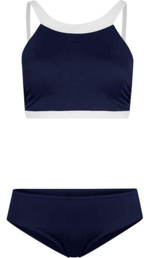 Niebieskie bikini z biustonoszem sportowym