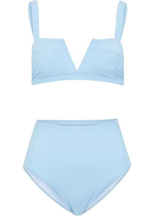 Nowoczesne bikini damskie w pastelowym jasnoniebieskim kolorze