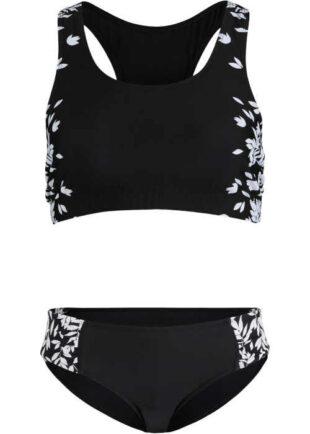 Shrinking dwuczęściowy kostium kąpielowy w czarno-białej kombinacji