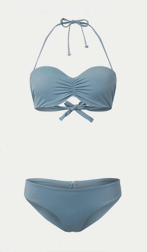 Nowoczesny dwuczęściowy kostium kąpielowy damski w kolorze niebieskim