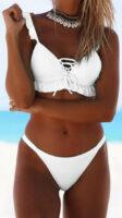 Biały, jednoczęściowy kostium kąpielowy z falbankami na staniku