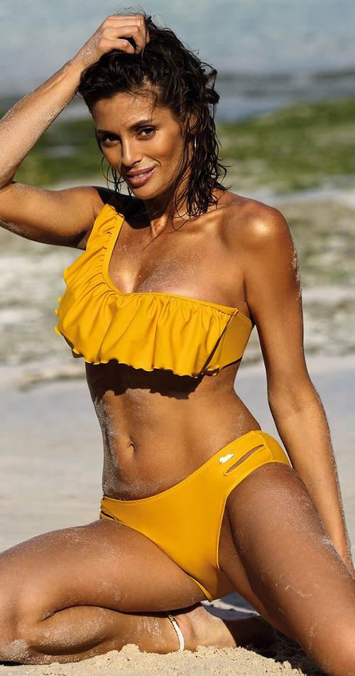 Żółty kostium kąpielowy na jedno ramię z falbanką na piersi